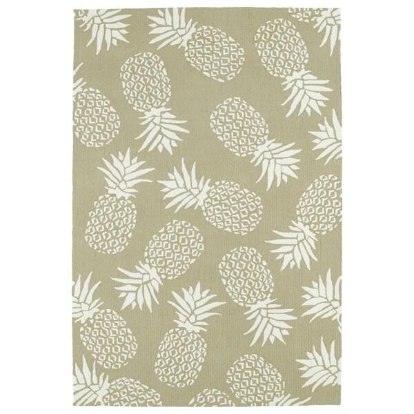 Indoor/Outdoor Beachcomber Pineapple Light Brown Rug - 7'6 x 9'