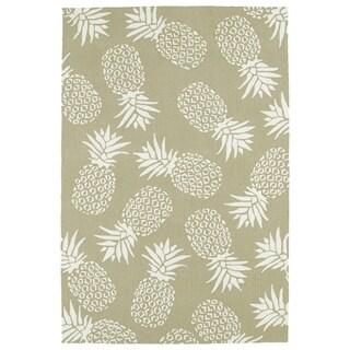 Indoor/Outdoor Beachcomber Pineapple Light Brown Rug (7'6 x 9')
