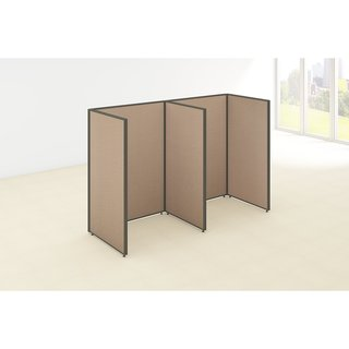 Bush Business Furniture ProPanels 96W x 36D x 66H 2-person Taupe/Tan Fabric Open Cubicle Configuration