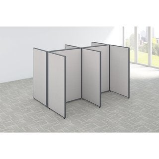 Bush Business Furniture ProPanels 96W x 72D x 66H 4-person Light Grey Fabric/Plastic Open Cubicle Configuration