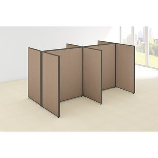 Bush Business Furniture ProPanels 4 Person Open Cubicle Office in Tan