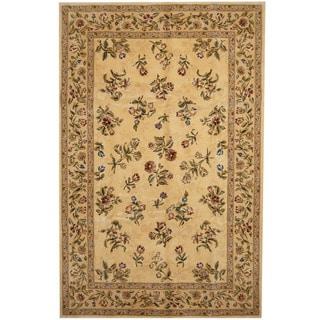 Herat Oriental Indo Hand-tufted Tabriz Beige/ Gold Wool & Silk Rug (5'9 x 8'9)