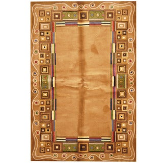 Herat Oriental Indo Hand-tufted Tibetan Light Brown/ Gold Wool Rug (5'3 x 8')