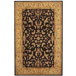 Herat Oriental Indo Hand-tufted Tabriz Black/ Ivory Wool & Silk Rug (5'9 x 8'9)
