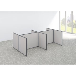 Bush Business Furniture ProPanels 120 x 72 x 42 Light Grey Fabric 4-person Open Cubicle Configuration