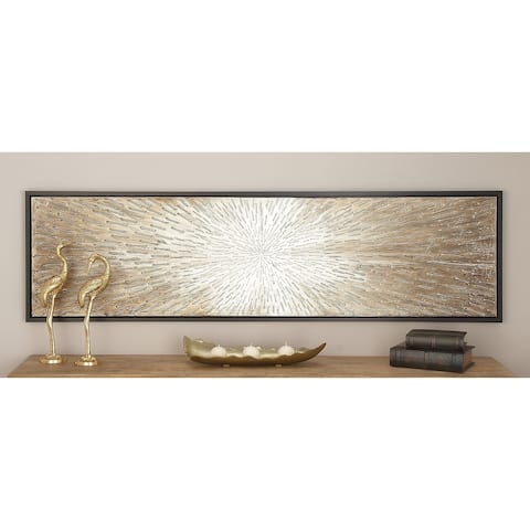 Modern 20 x 71 Inch Abstract Ray Framed Canvas Art by Studio 350 - Brown