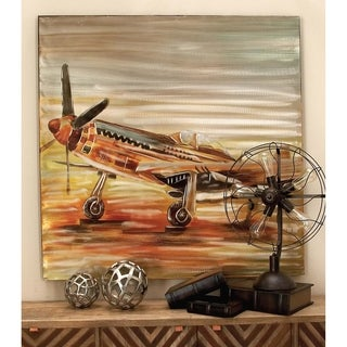 Rustic 47 x 47 inch Vintage Biplane on Canvas Wall Art by Studio 350 - Multi-color