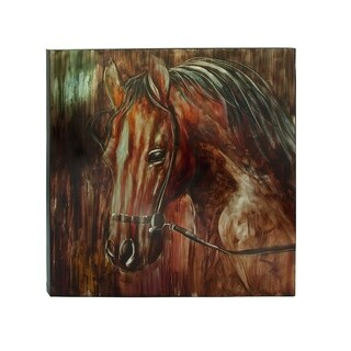 Traditional 47 inch Brown Horse Portrait Canvas Art by Studio 350 - multi