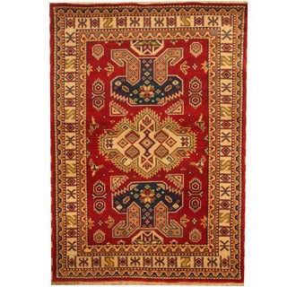 Herat Oriental Indo Hand-knotted Kazak Red/ Ivory Wool Area Rug (4' x 6')