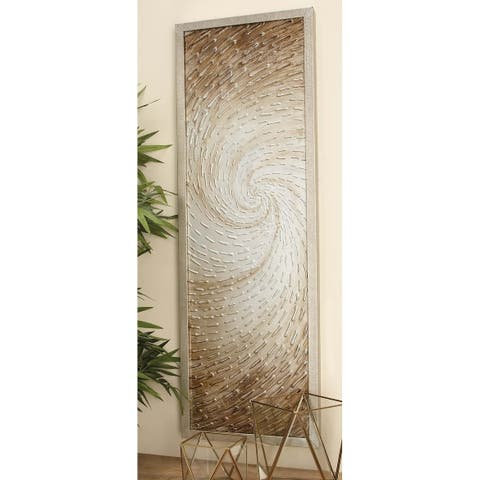 Modern 47 x 16 Inch Rectangular Framed Spiral Canvas Art by Studio 350 - Brown