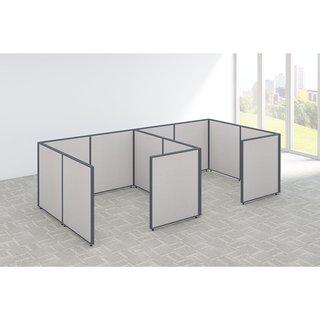 Bush Business Furniture ProPanels 144W x 72D x 42H 2-person Grey Plastic Closed Cubicle Configuration