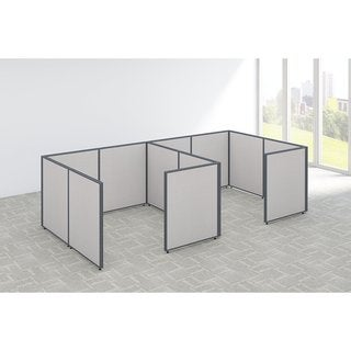 Bush Business Furniture ProPanels 144W x 72D x 42H 2-person Grey Plastic Closed Cubicle Configuration