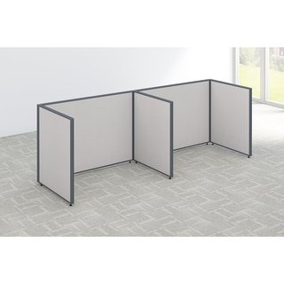 Bush Business Furniture ProPanels 2 Person Open Cubicle Office in Light Grey