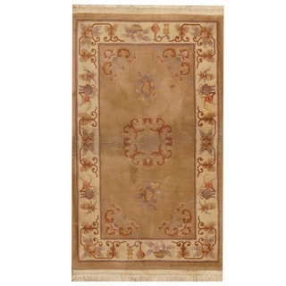 Herat Oriental Sino Hand-knotted Semi Antique 1960s Art Deco Beige/ Rust Wool Area Rug (3' x 5')