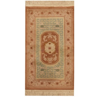 Herat Oriental Indo Hand-knotted Aubusson Light Blue/ Beige Wool Area Rug (3' x 5')