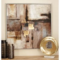 Contemporary 40 x 40 Inch Abstract Framed Canvas Art by Studio 350 - Brown