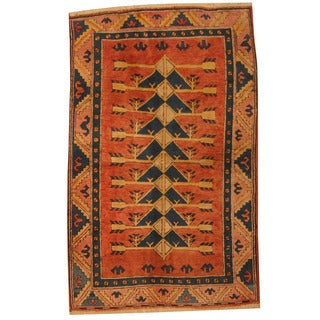 Herat Oriental Turkish Hand-knotted Tribal Kazak Rust/ Blue Wool Rug (4'4 x 6'8)