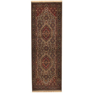 Herat Oriental Indo Hand-knotted Bidjar Blue/ Black Wool Runner (2'6 x 8')