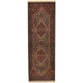 Herat Oriental Indo Hand-knotted Bidjar Wool Runner (2'6 x 8')