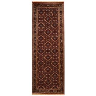 Herat Oriental Indo Hand-knotted Bidjar Red/ Black Wool Runner (2'9 x 8')