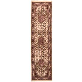 Herat Oriental Indo Hand-knotted Bidjar Ivory/ Red Wool Runner (2'9 x 10'4)