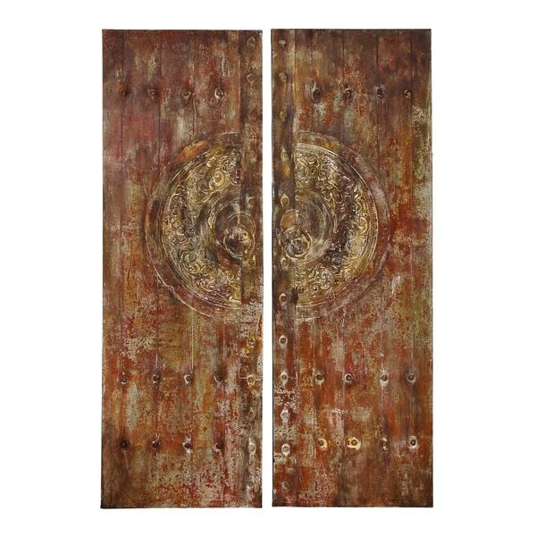 Canvas Art With Metallic Frontal In Brown Finish - (Set Of 2)