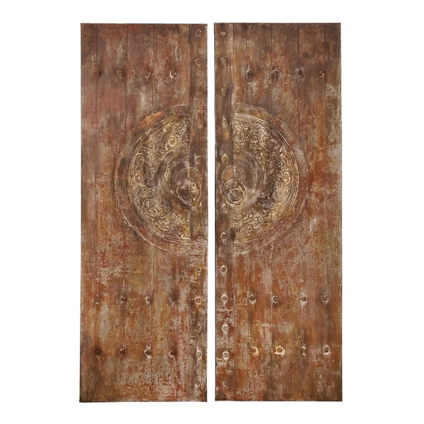 Set of 2 Rustic 59 Inch Wood and Canvas Wall Panels by Studio 350 - Brown
