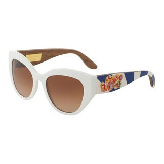 D&G Women's DG4278 303913 White Plastic Cat Eye Sunglasses