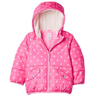 Carter's Girls' Pink Dot Sherpa Lined Hooded Jacket
