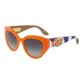 D&G Women's DG4278 30468G Orange Plastic Cat Eye Sunglasses