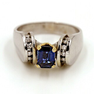 14k White Gold 1/6ct TDW Blue Sapphire and Diamond Fashion Ring (G-H, I1)