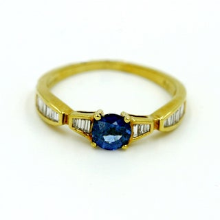 14k Yellow Gold 1/10ct TDW Blue Sapphire and Diamond Fashion Ring (G-H, I1)