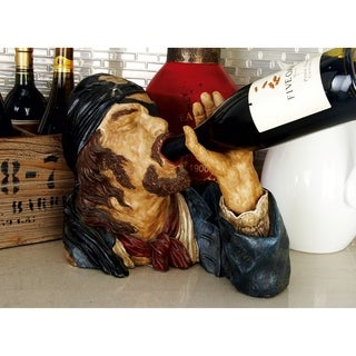 Eclectic 10 Inch Polystone Drinking Pirate Wine Holder by Studio 350