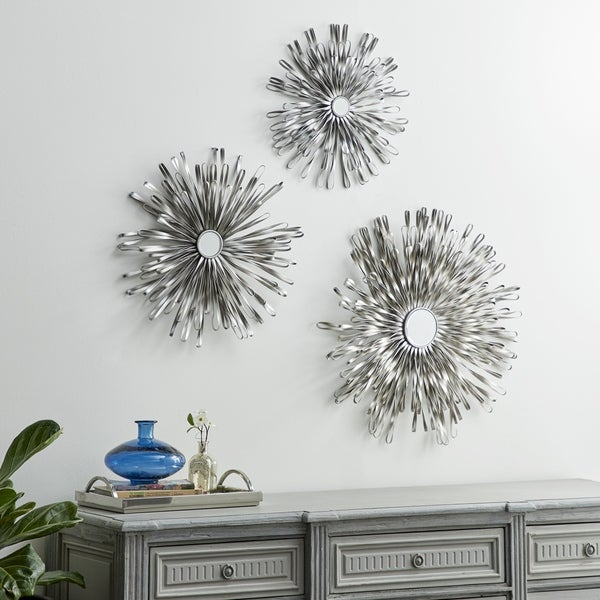 Set of 3 Modern Iron Loop Bands Wall Decor with Mirror by Studio 350 - Silver
