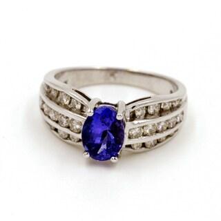 14k White Gold 5/8ct TDW Tanzanite and Diamond Fashion Ring (G-H, I1)