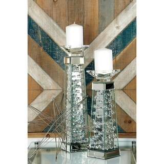 Contemporary 14 Inch Mirror and Glass Candleholder by Studio 350