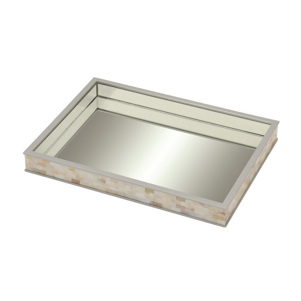 Silver Orchid Olivia Mesmerizing Wood Mirror Mop Tray - Beige/Silver (Mirror)