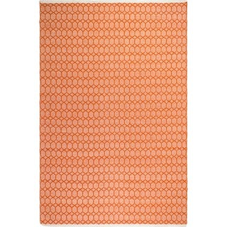 Handmade Fab Habitat Indo Estate Lyndhurst Orange PET Area Rug (India)