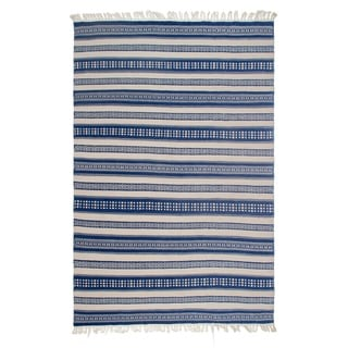 Fab Habitat Indo Estate Chatsworth Blue PET Polyester Fiber Rug