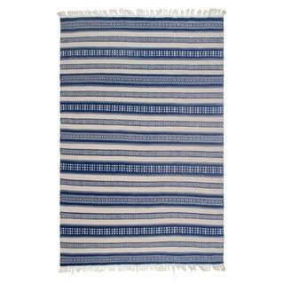 Handmade Fab Habitat Indo Estate Chatsworth Blue PET Polyester Fiber Rug (India)