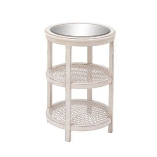 Elegant Wood Mirror Metal White Accent Table