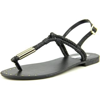 Steve Madden Women's Braidie Black Faux-Leather Sandals