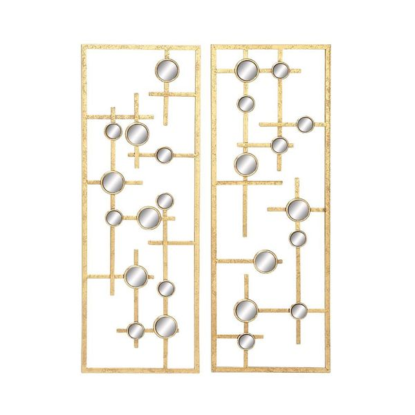 Shop Unique Metal Mirror Wall Panel Set Of 2 Free
