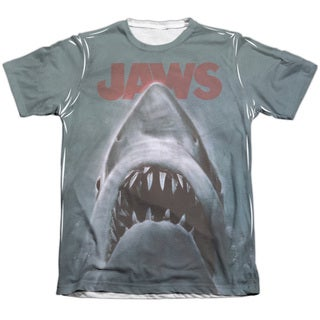 Jaws/Poster Adult 65/35 Poly/Cotton Short Sleeve Tee in White