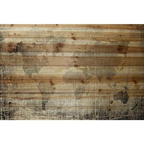 Handmade Parvez Taj - Latitude Print on Natural Pine Wood