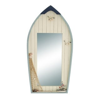 Seaside Nautical Row Boat Mirror Decor With Fishing Net