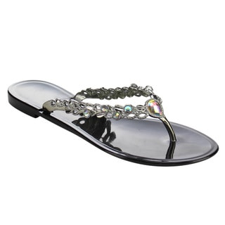 Beston DC51 Women's V-strap Rhinestone Accents Flip Flop Flat Slip On Sandals