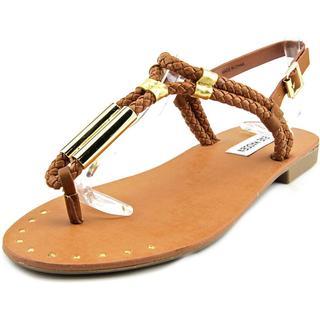 Steve Madden Women's 'Braidie' Brown/Goldtone Synthetic Sandals