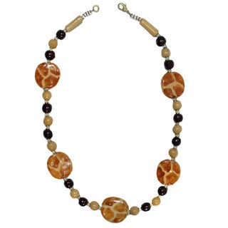 Handmade Ceramic Bead Golden Giraffe 18-inch Necklace (Kenya)