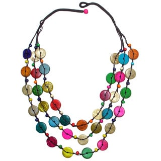 Fair Trade Hand Crafted 3-Strand Coconut Shell Necklace